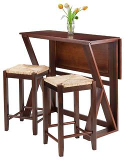 "Harrington 3-Piece Set Drop Leaf High Table 2-24"" Rush Seat Stools"