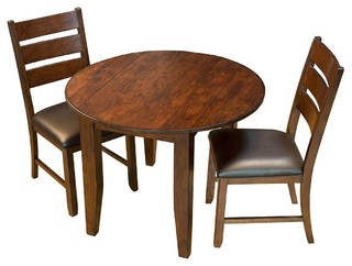 A-America Mason 3-Piece Round Drop Leaf Dining Room Set Mango