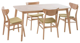 5-Piece Upholstered Midcentury Dining Table Set Green Tea