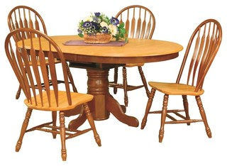 5-Piece Pedestal Dining Set With Comfort Back Chairs