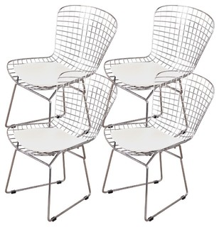 Occ Chromed Steel Side Chairs With Leatherette Pu Pad White Set of 4