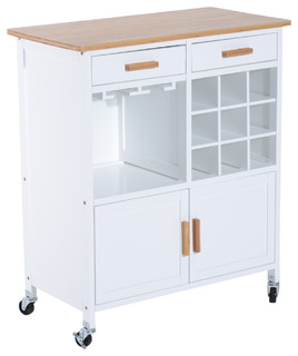 """35"""" Rolling Kitchen Trolley Serving Cart With Wine Rack White"""