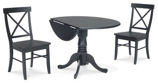 International Concepts 3-Piece Dining Set with X-Back Chairs in Black
