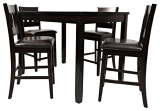 Dark Rustic Prairie Counter Height Table and Four Stools Dark Brown