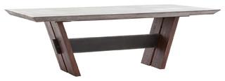 94 Daniele Dining Table Concrete Dark Gray Reclaimed Wood