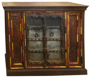 Consigned Antique Rustic Cabinet Jharoka Double Door Designs Sideboard Chest