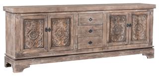Allen Reclaimed Pine 3 Drawer 4 Door Sideboard by Kosas Home