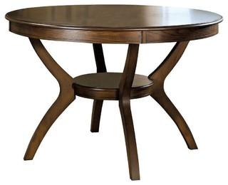 "Modern Classic 48"" Round Dining Table Dark Walnut Wood Finish"
