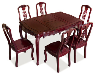 Rosewood French Rococo Style Dining Table Set With 6 Chairs