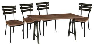 Bridgeport and Stadium 5-Piece Dining Set Gunmetal Finish Top: Medium Brown