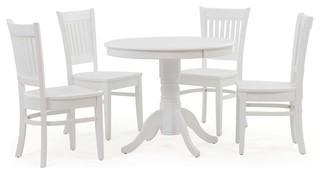 5-Piece Brookline Round Dining Room Kitchen Table & Chairs Set White/True White