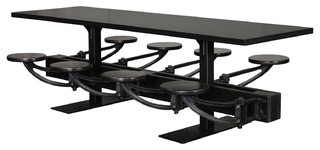 All Black Cafe Table With Attached Swing out Seats