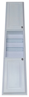 """Recessed Montery Pantry Storage Cabinet With 24"""" Center Shelf White Enamel 78"""""""