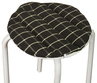 Black Cotton Round Stool Pad Stool Plaid Cushion Stool Mat