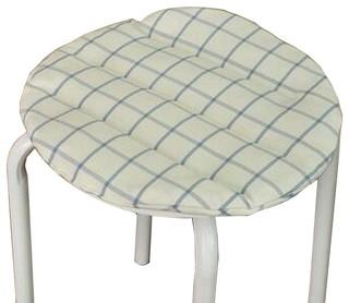 White Cotton Round Stool Pad Stool Plaid Cushion Stool Mat