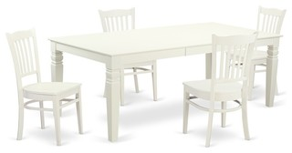 5-Piece Kitchen Table Set With A Table And 4 Dining Chairs In Linen White
