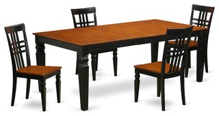 5-Piece Table And Chair Set With A Table And 4 Dining Chairs In Black And Cherry