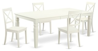 5-Piecekitchen Table Set With A Dining Table And 4 Dining Chairs In Linen White