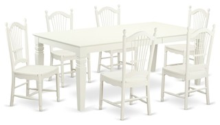 7-Piece Kitchen Table Set With A Table And 6 Dining Chairs In Linen White