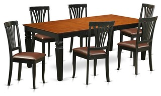 7-Piecetable And Chair Set With A Table And 6 Dining Chairs In Black And Cherry
