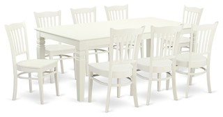 9-Piece Dinette Set With A Dining Table And 8 Kitchen Chairs In Linen White