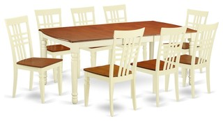 9 Pc Kitchen Table Set With A Table And 8 Dining Chairs Buttermilk And Cherry