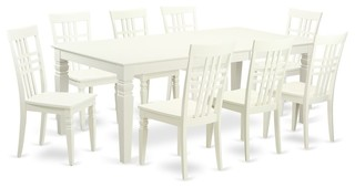 9-Piecetable Set With A Dining Table And 8 Dining Chairs In Linen White