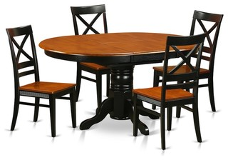 Avon 5-Piece Solid Wood Dining Set Black And Cherry