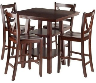 Winsome 5-Piece Set High Table Shelves With V Back  Stools