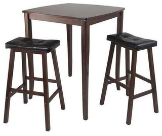 Winsome Inglewood 3-Piece High Pub Dining Table With Saddle Stool