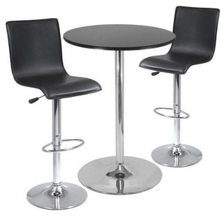Winsome Spectrum 3-Piece Round Table With L Shape Airlift Stools