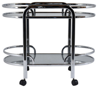 Consigned Mid-Century Modern Chrome and Glass Bar Cart