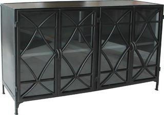 Hurst Metal New 4-Door 1-Shelf Sideboard