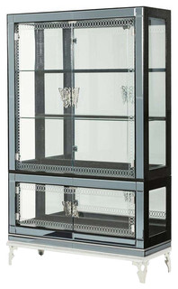 Hollywood Swank Curio With Drawer Base Caviar