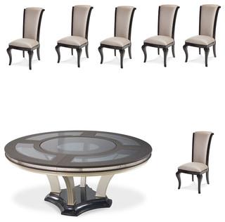 "Hollywood Swank 7-Piece 72"" Round Glass Top Dining Set Caviar"
