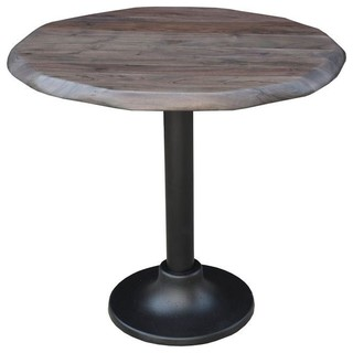 Round Wooden Bistro Table Vinegar Matte