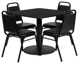 Flash Furniture 36 Inch Square Black Laminate Table Set with 4 Black Chairs