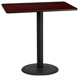 "Dyersburg 30""x48"" Rectangular Mahogany Laminate Table Top With 42"" Round Base"