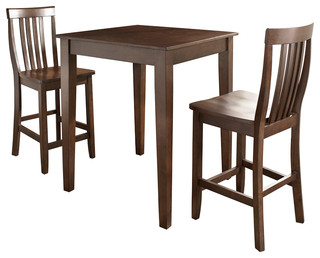 Crosley Furniture 3-Piece Pub Dining Set with Tapered Leg & School House Stools