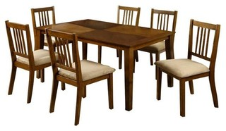 Mackay Transitional 7 Piece Dining Table Set Dark Oak