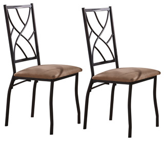 Bronze Metal and Fabric Kitchen Dinette Side Chairs Set of 2