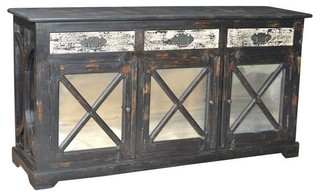 Kasper 3-Drawer 3 Antique Mirror Door Buffet