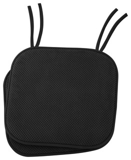 """Non Slip Memory Foam Cushion Chair Pads With Ties 17""""x16"""" Set of 2 Black"""