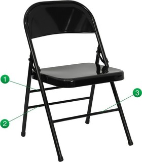 Hercules Series Triple Braced and Double Hinged Metal Folding Chair
