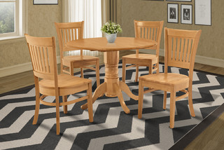 Dining Room Table Set with Drop Leaves Oak Finish 5 Piece