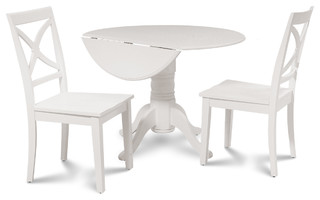 Burlington Dinette Dining Set with Wooden Seat Chairs White 3 Piece Set