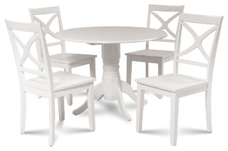 Burlington Dinette Dining Set With Wooden Seat Chairs White 5 Piece Set