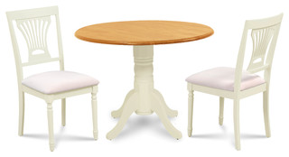 Dining Room Table Set With Drop Leaves in Two Tone Buttermilk/Oak Finish 3 Piec