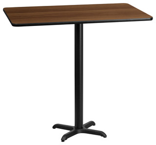 "Flash Furniture 30""x60"" Rectangular Walnut Laminate Bar Table"