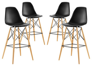 Modway Pyramid Dining Side Bar Stool Set of 4 Black